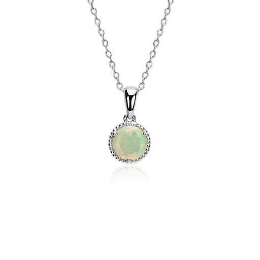 Blue Nile Sunburst Opal and White Sapphire Pendant in 14k Yellow Gold (10x8 mm) xE4OCHje