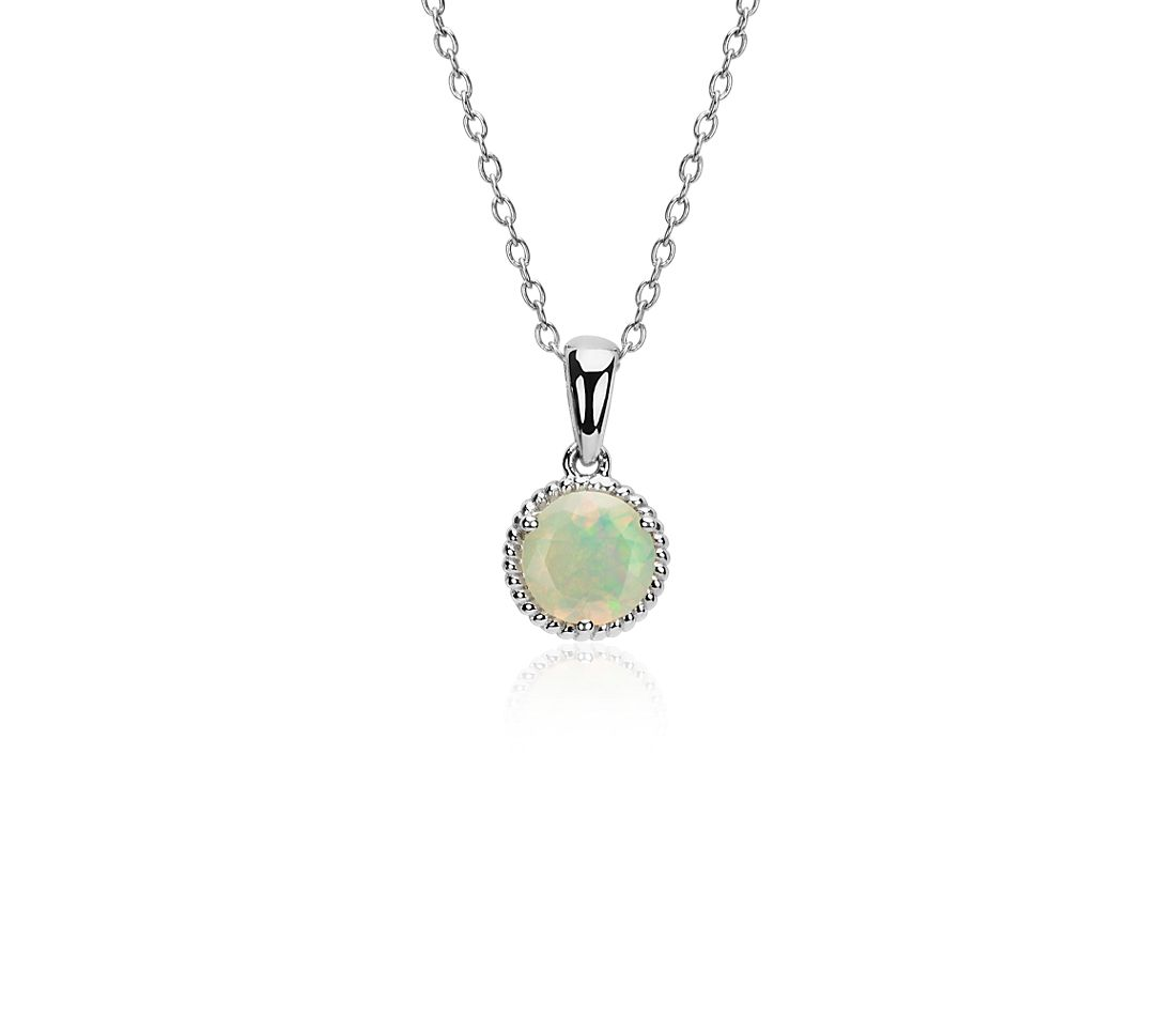 Opal Rope Pendant in Sterling Silver (7mm)