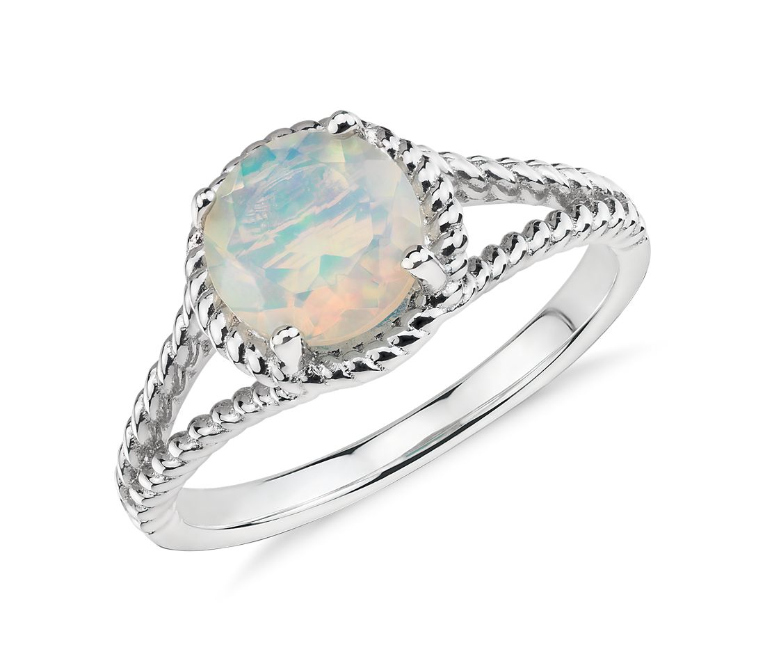 Opal Rope Ring in Sterling Silver (7mm)