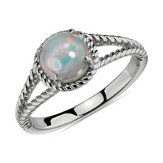 NEW Opal Rope Ring in Sterling Silver (7mm)