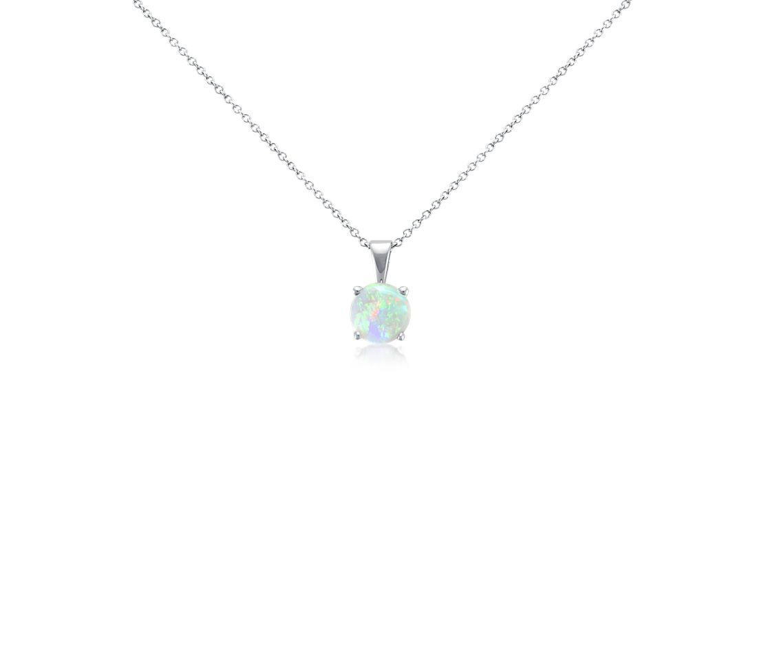 Opal Solitaire Pendant in 14k White Gold (7mm)