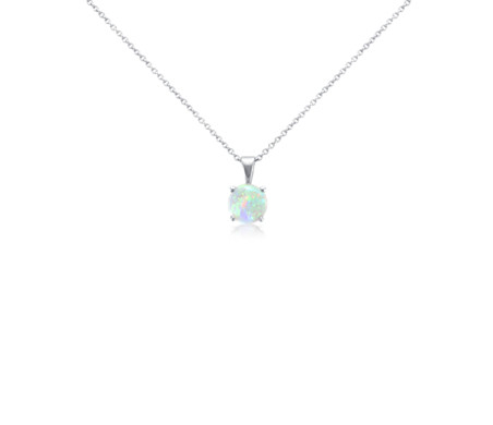Opal Solitare Pendant in 14k White Gold (7mm)