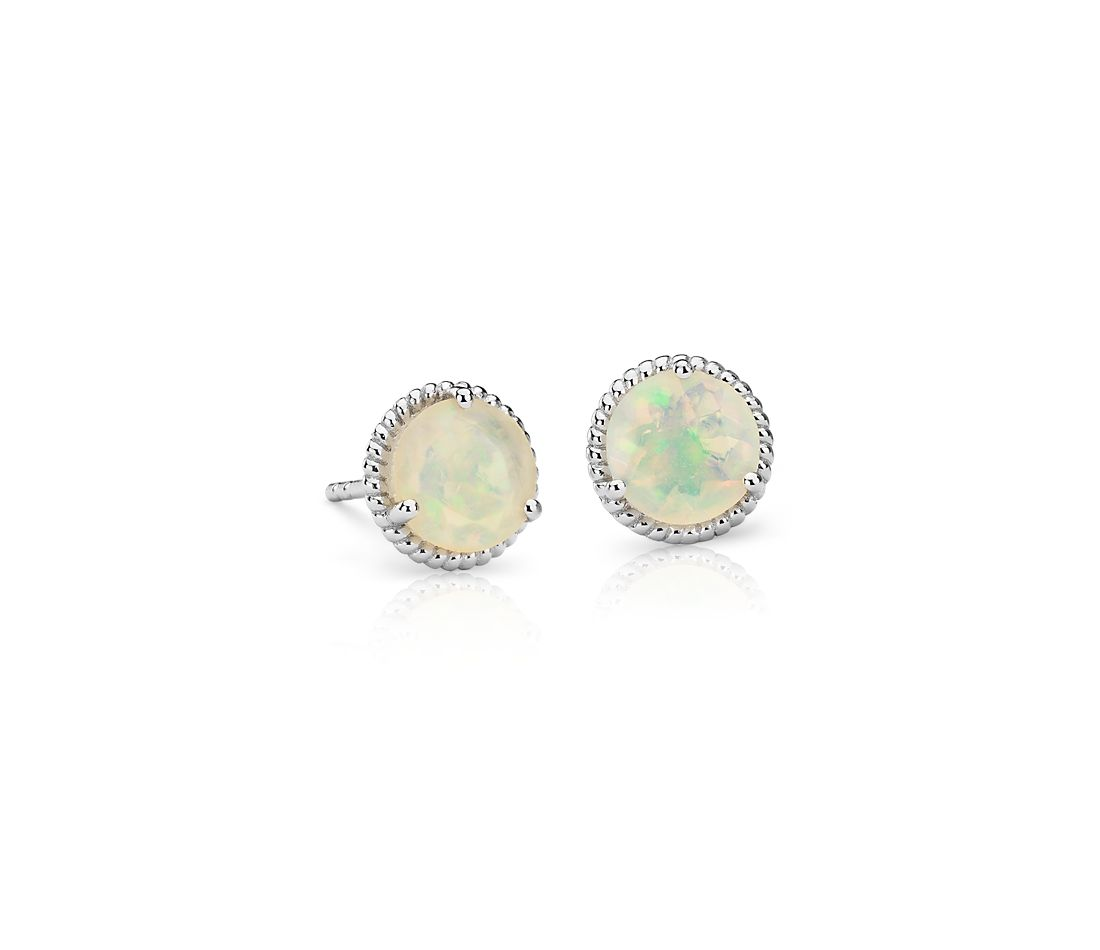Opal Rope Stud Earrings in Sterling Silver (7mm)