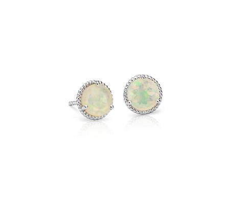 925 純銀 蛋白石繩索耳釘耳環<br>( 7毫米)