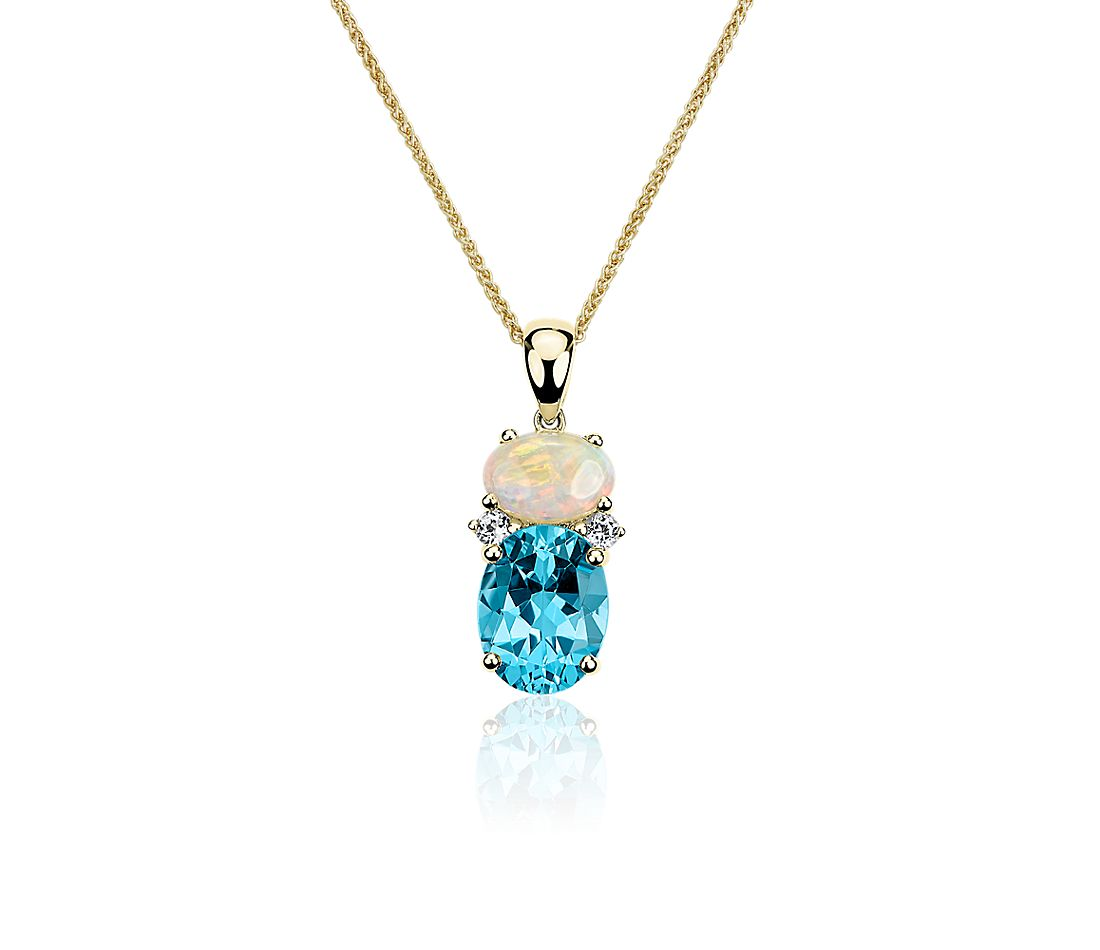 Opal, Swiss Blue Topaz, and White Sapphire Pendant in 14k Yellow Gold