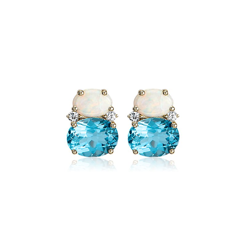 Opal and Swiss Blue Topaz Stud Earrings in 14k Yellow Gold
