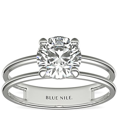 Open Bar Solitaire Engagement Ring in 14k White Gold