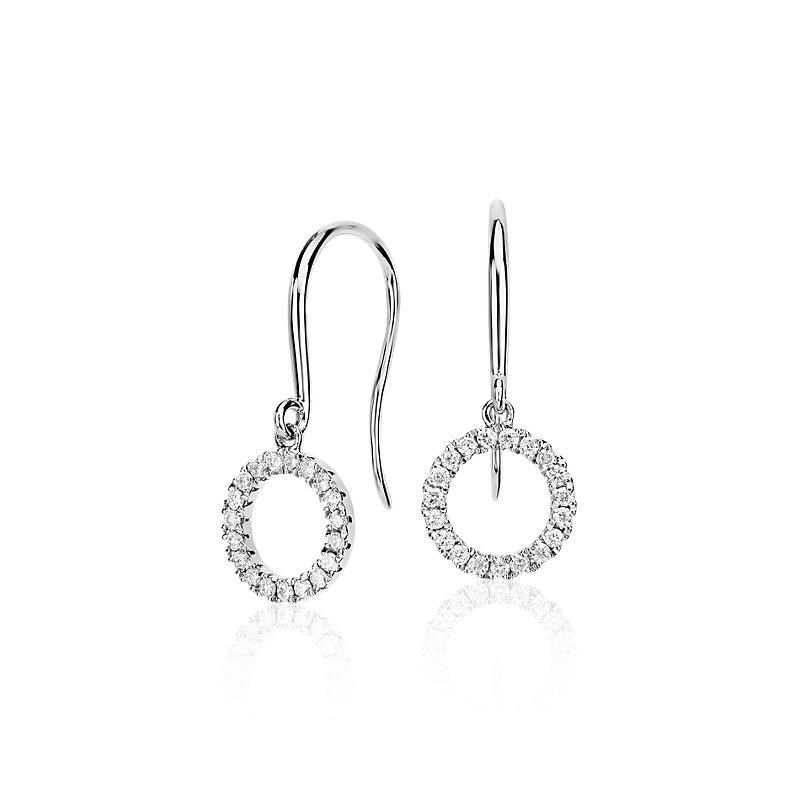 Diamond Circle Drop Earrings in 14k White Gold (1/5 ct. tw.)