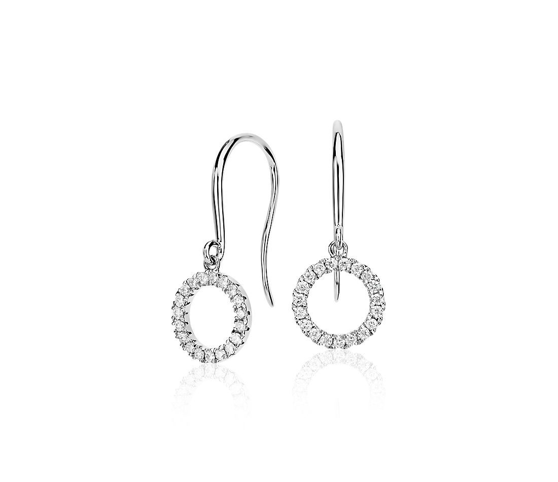 Diamond Circle Drop Earrings In 14k White Gold 1 5 Ct Tw Blue Nile