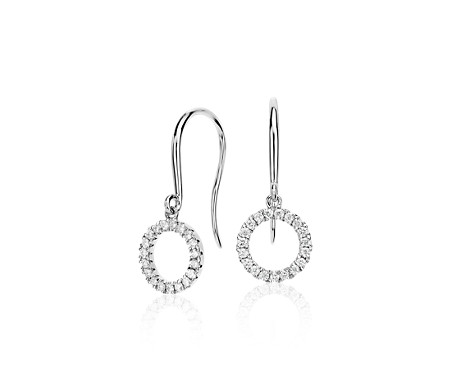 Blue Nile Diamond Circle Drop Earrings in 14k White Gold (1/5 ct. tw.) qOgCm