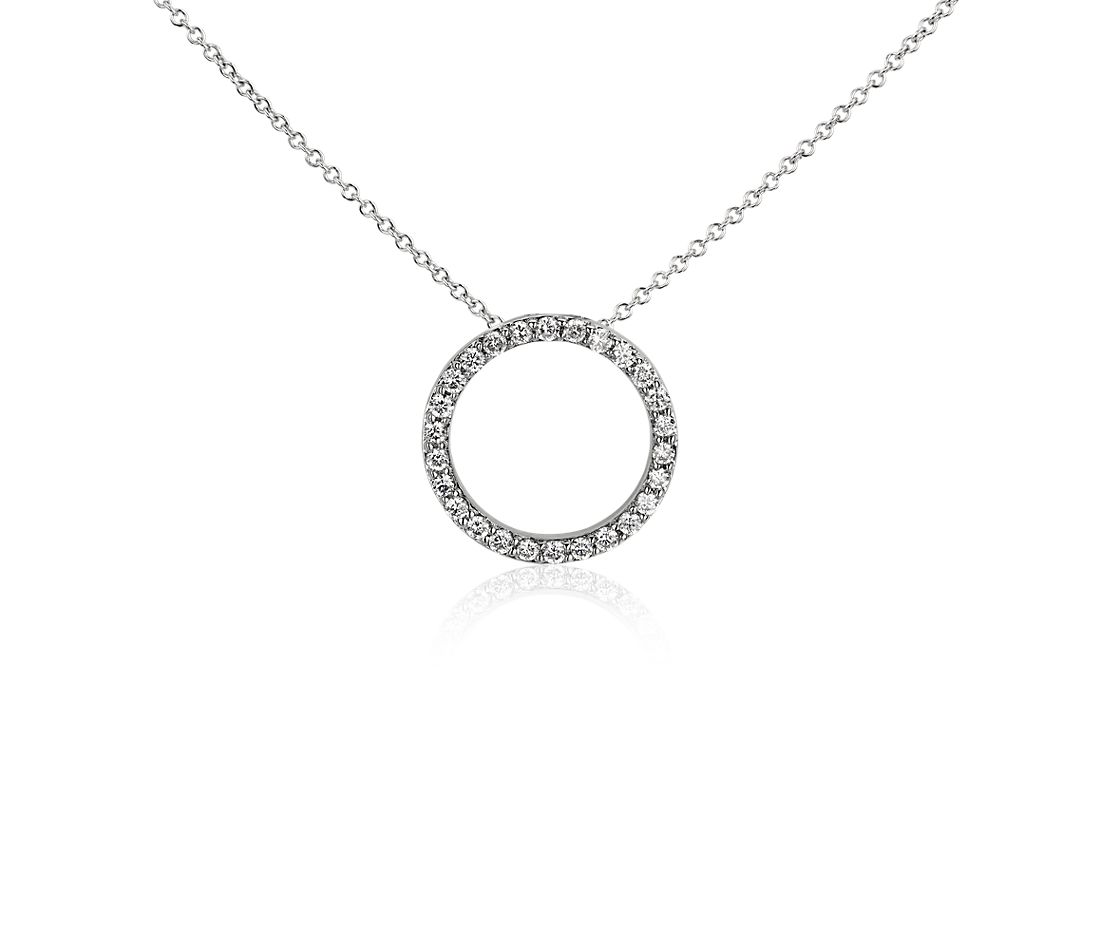Open Circle Diamond Pendant in 14k White Gold (1/4 ct.tw.)