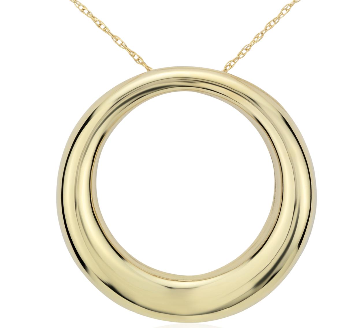Pendentif cercle ouvert en or jaune 14carats