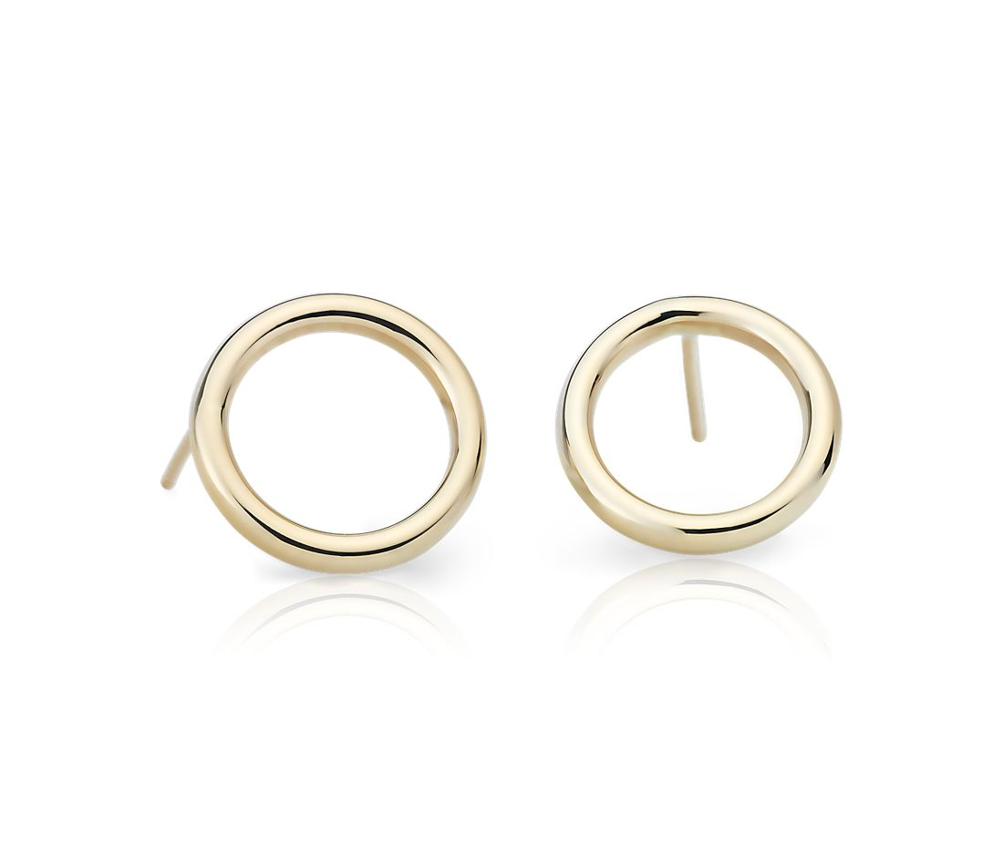 Open Circle Earring Studs in 14k Yellow Gold