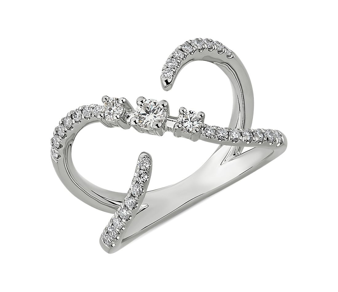 Open Crossover Diamond Fashion Ring in 14k White Gold (3/8 ct. tw.)