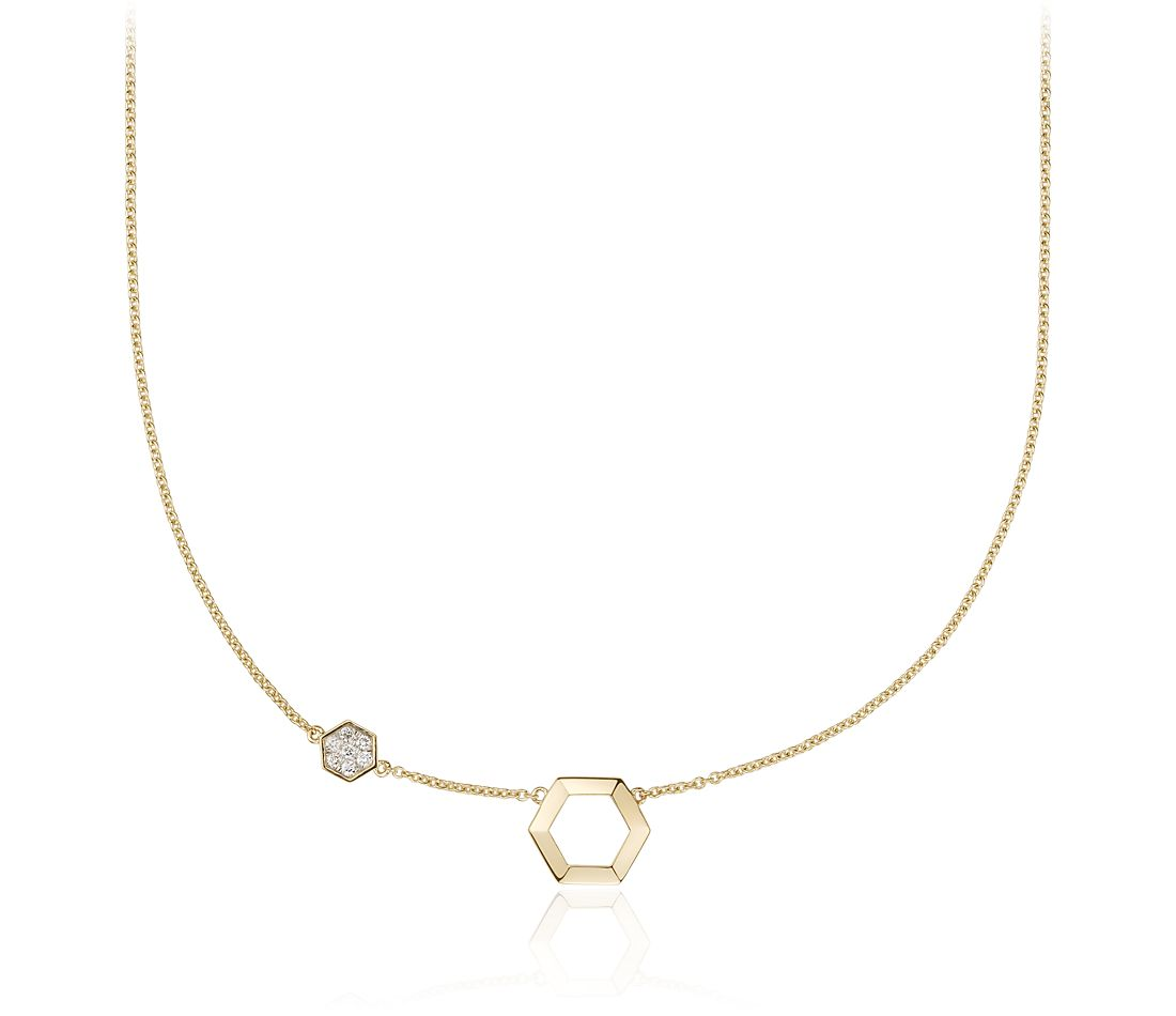 Hexagon Diamond Necklace in 14k Yellow Gold