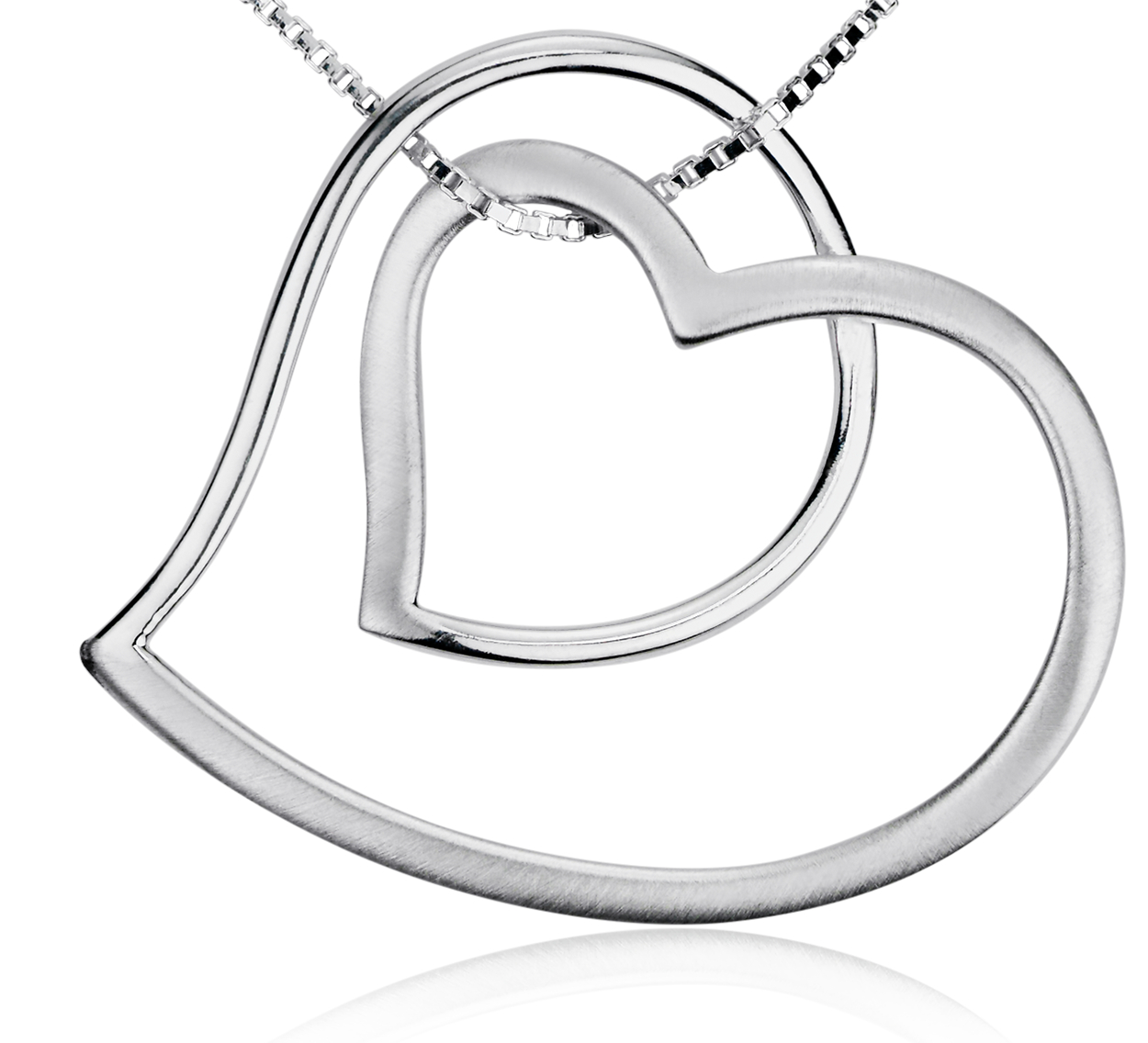 Open Double Heart Pendant in Sterling Silver