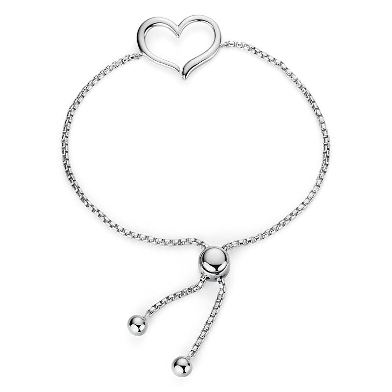 Open Heart Bolo Bracelet in Sterling Silver