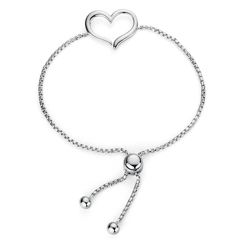 Open Heart Bolo Bracelet in Sterling Silver