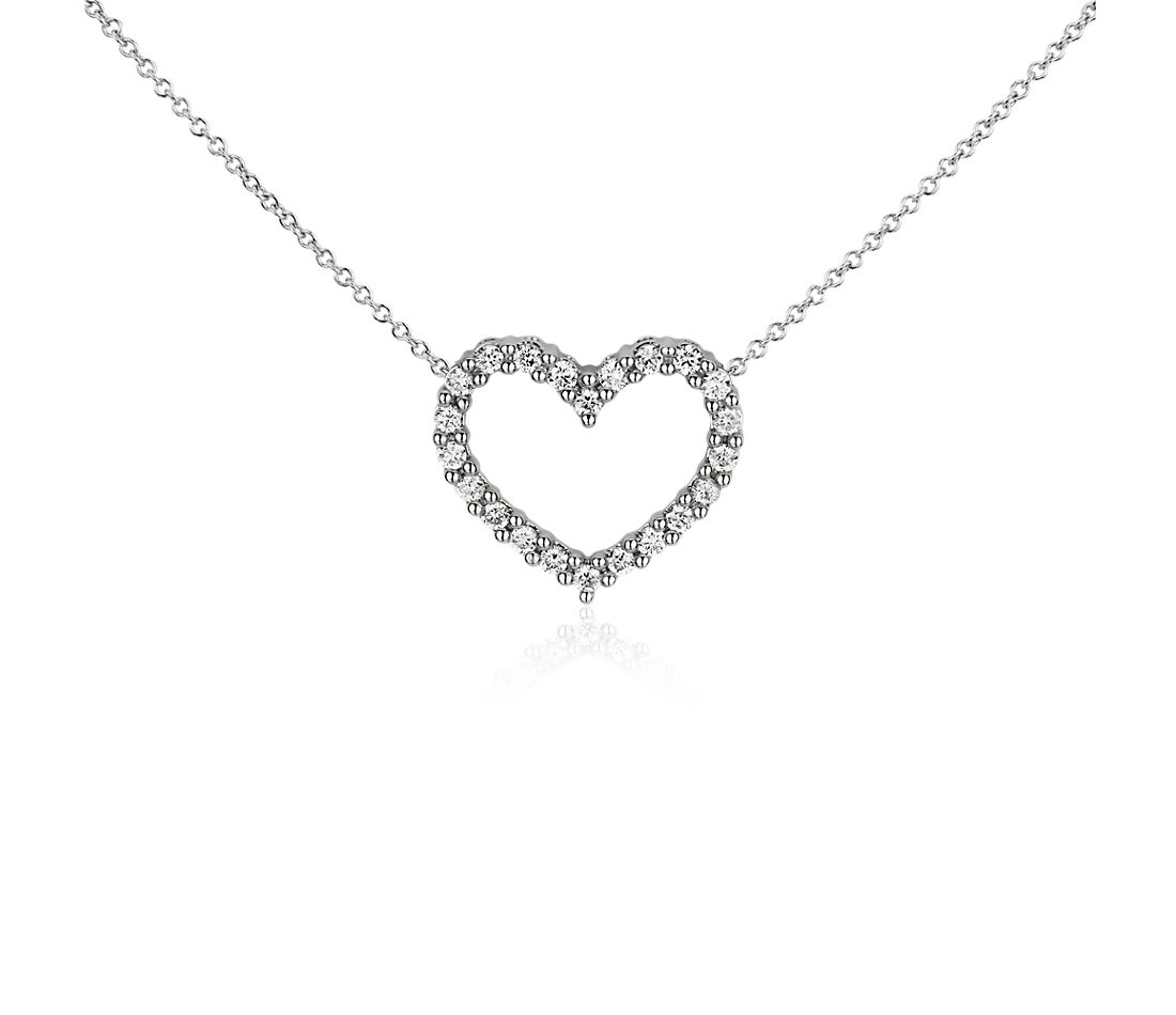 Diamond Heart Necklace in 14k White Gold (1/3 ct. tw.)