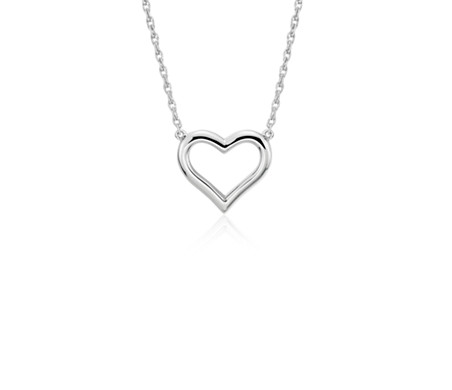 Open Heart Necklace in Platinum