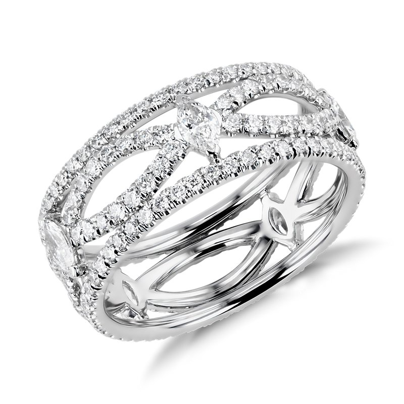 Blue Nile Studio Open Marquise Diamond Eternity Ring in Platinum