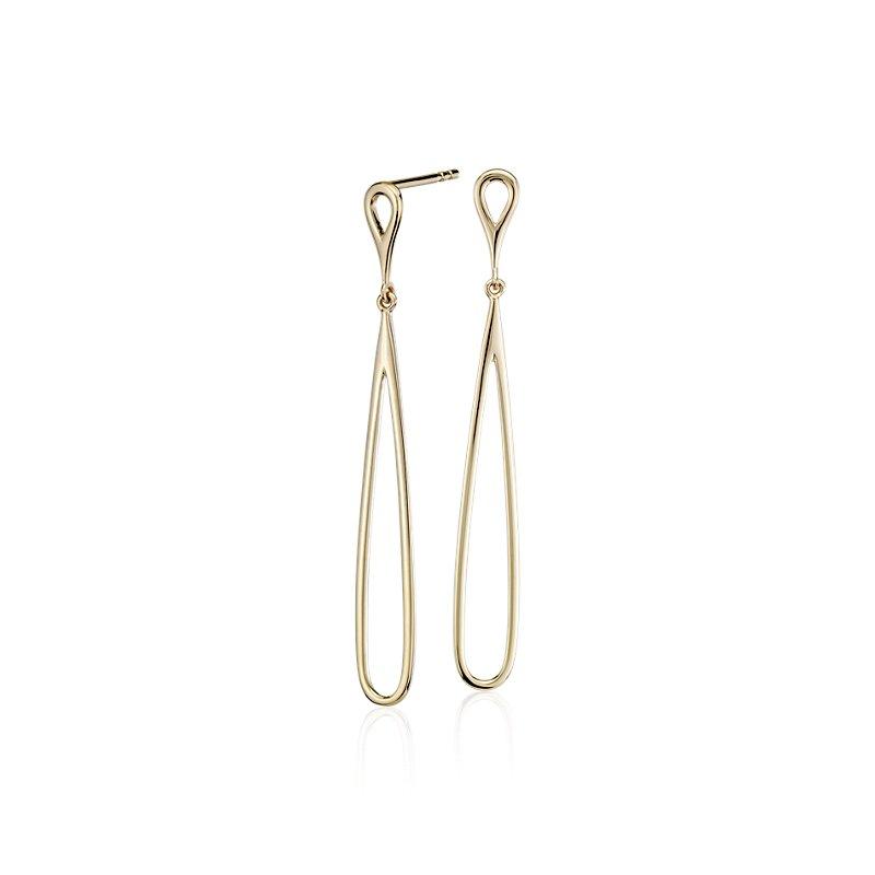 Open Teardrop Earrings in 14k Yellow Gold