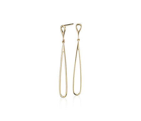 Open Teardrop Earrings in 14k Yellow Gold