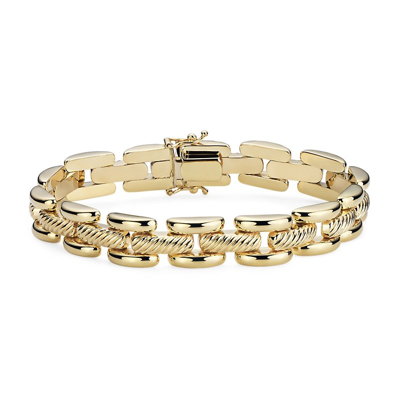 Open Textured High Polished Panther Link Bracelet in 14k Italian