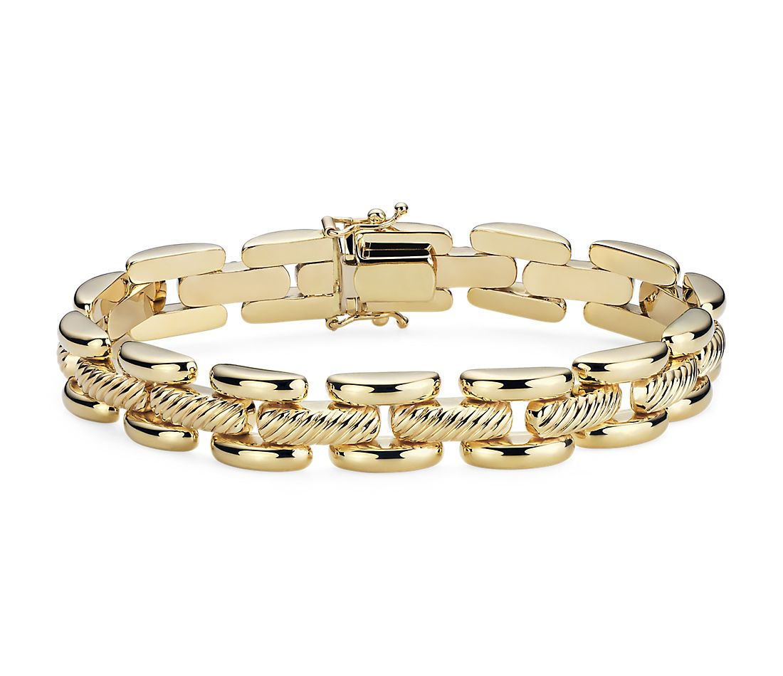 Open Textured High Polished Panther Link Bracelet in 14k Italian Yellow Gold (10mm)