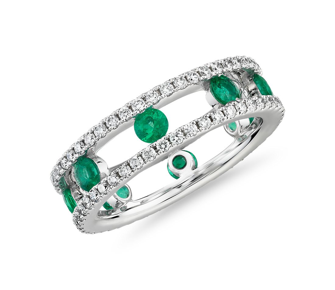 Open Trio Diamond and Emerald Eternity Ring in 18k White Gold