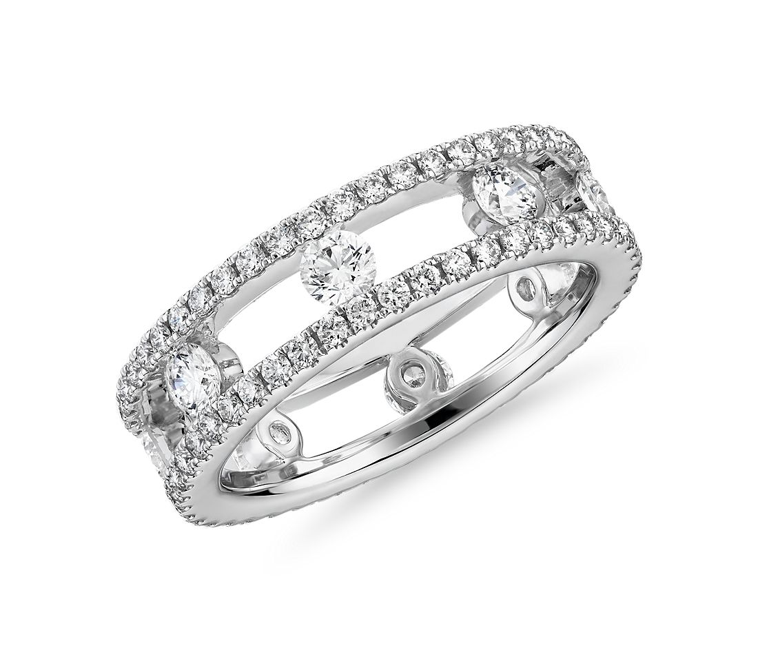 Open Trio Diamond Eternity Ring in 18k White Gold