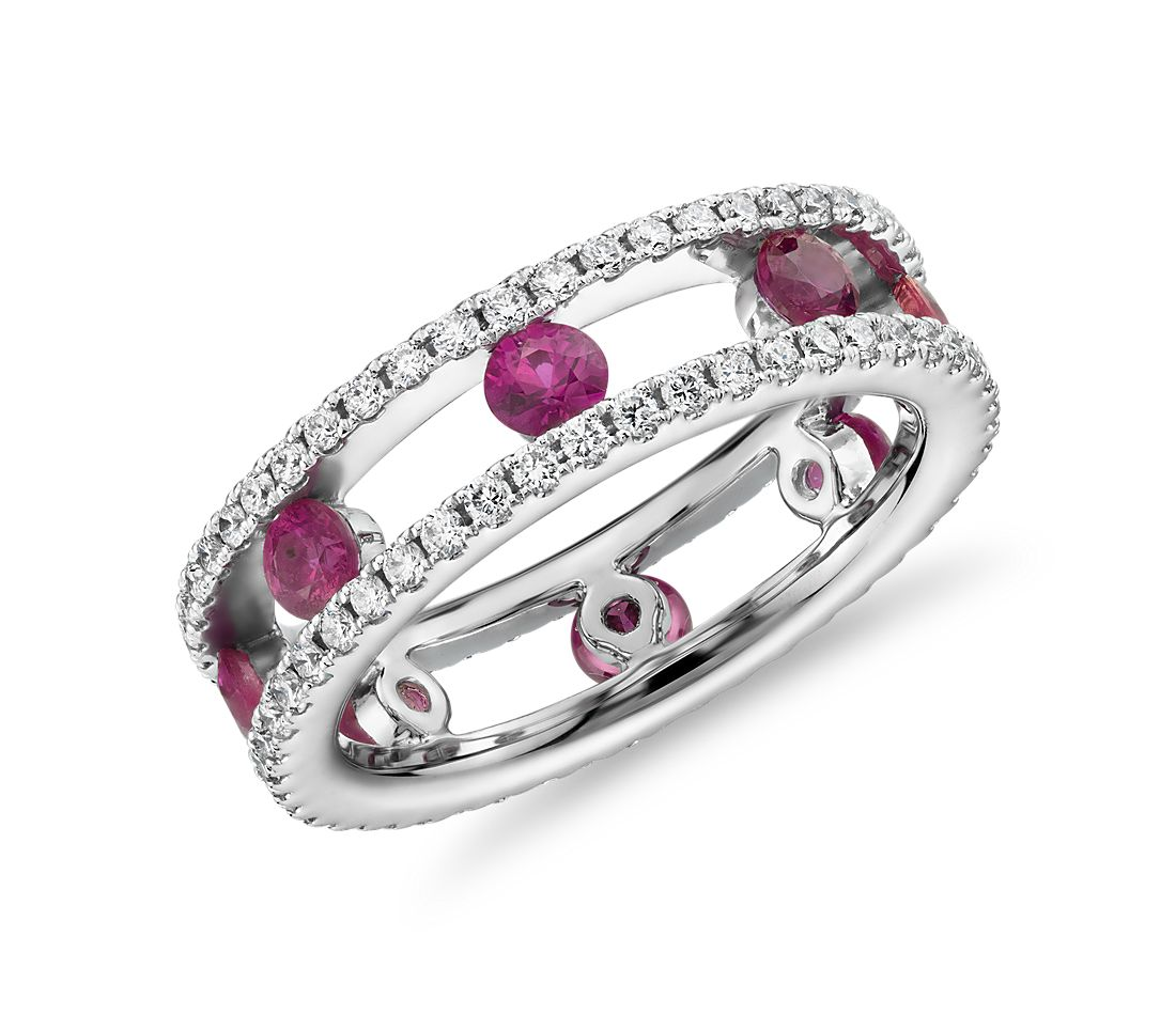 Open Trio Diamond and Ruby Eternity Ring in 18k White Gold (3/4 ct. tw.)