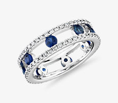 NEW Open Trio Diamond and Sapphire Eternity Ring in 18k White Gold (3/4 ct. tw.)