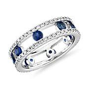 新款 18k 白金 中空三重鑽石和藍寶石永恆戒指 ( 3/4 克拉總重量)