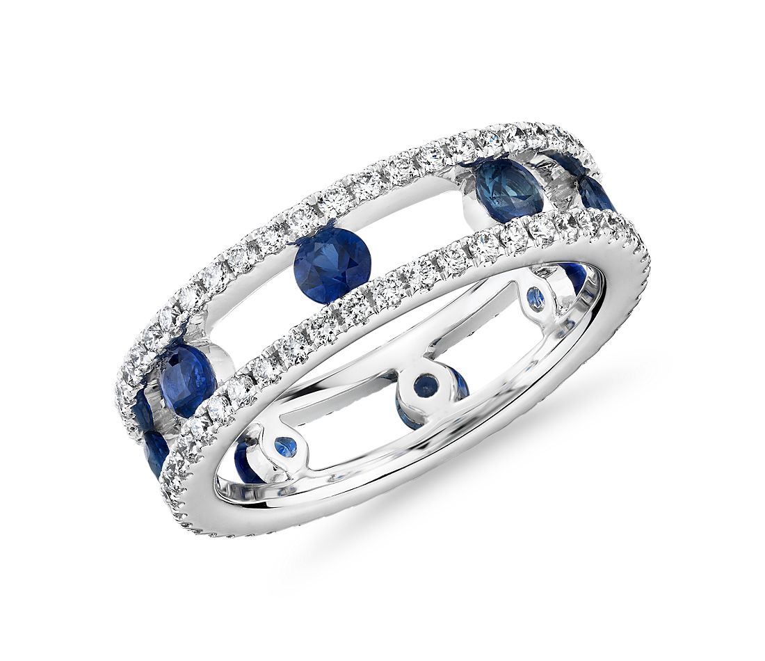 Open Trio Diamond and Sapphire Eternity Ring in 18k White Gold