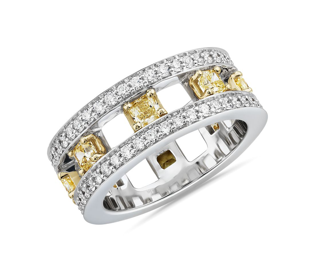 Open Trio Yellow Diamond Eternity Ring in 18k White and Yellow Gold