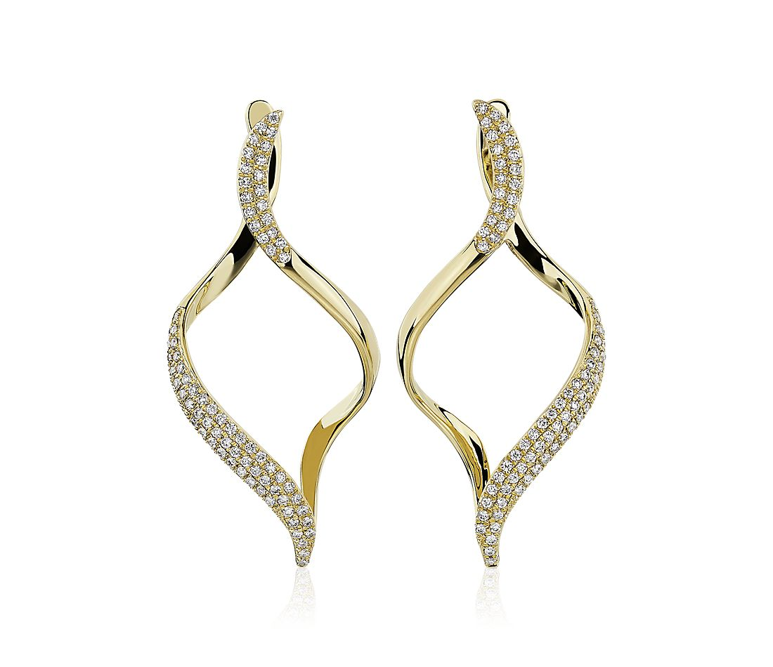Open Twist Drop Earrings in 14k Yellow Gold (3/8 ct. tw.)