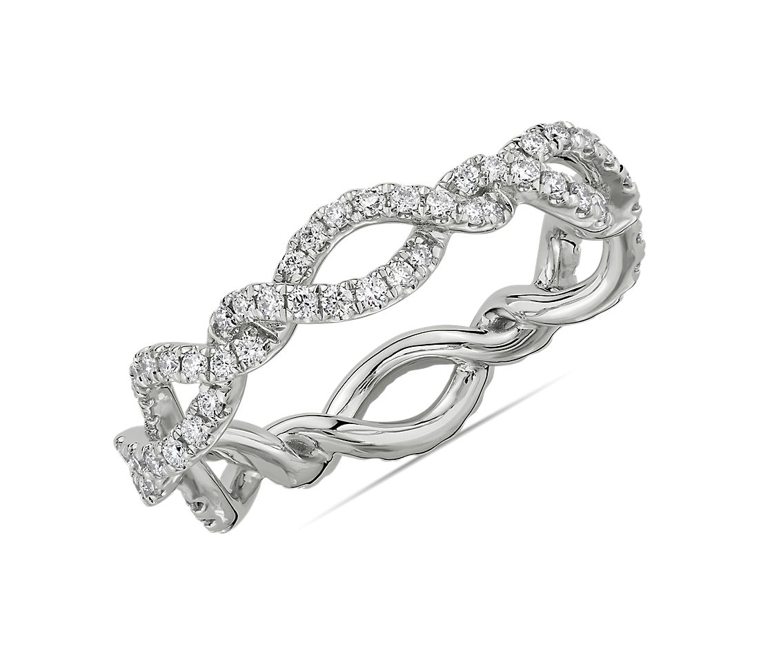 Openwork Alternating Infinity Twist Eternity Ring in 14k White Gold (1/2 ct. tw.)