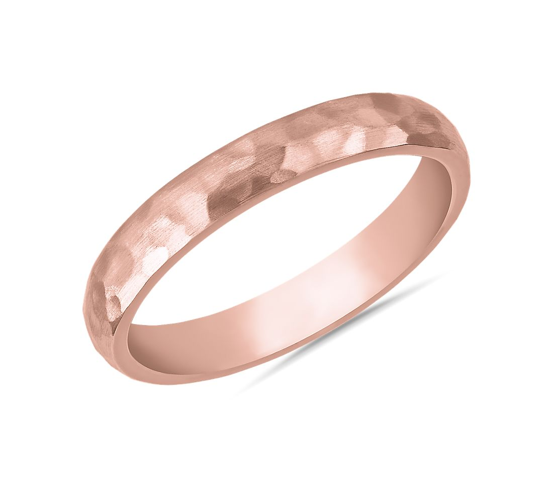 Organic Hammered Wedding Ring in 14k Rose Gold (3mm)