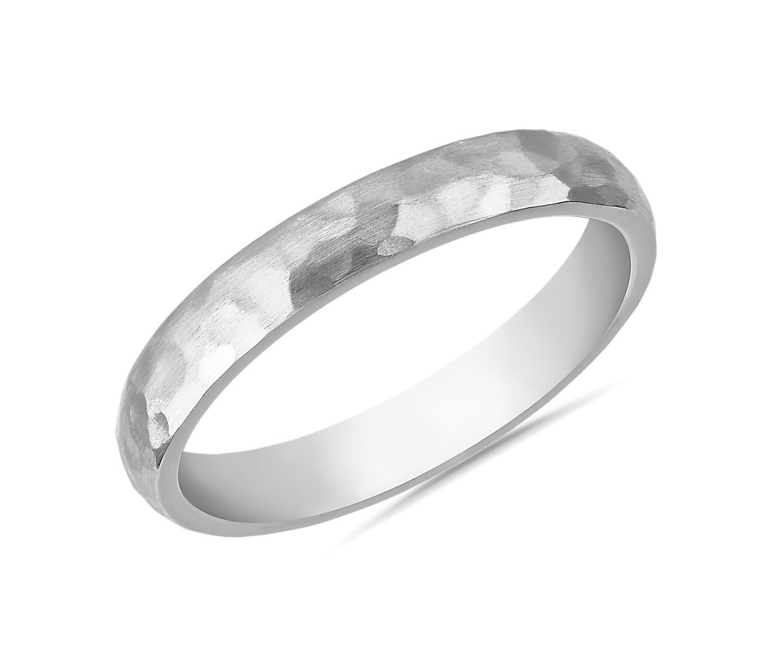 Organic Hammered Wedding Ring in 14k White Gold (3mm)