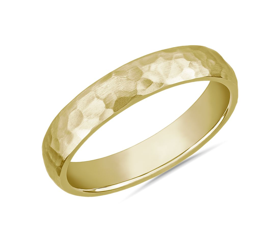 Organic Hammered Wedding Ring in 14k Yellow Gold (4mm)