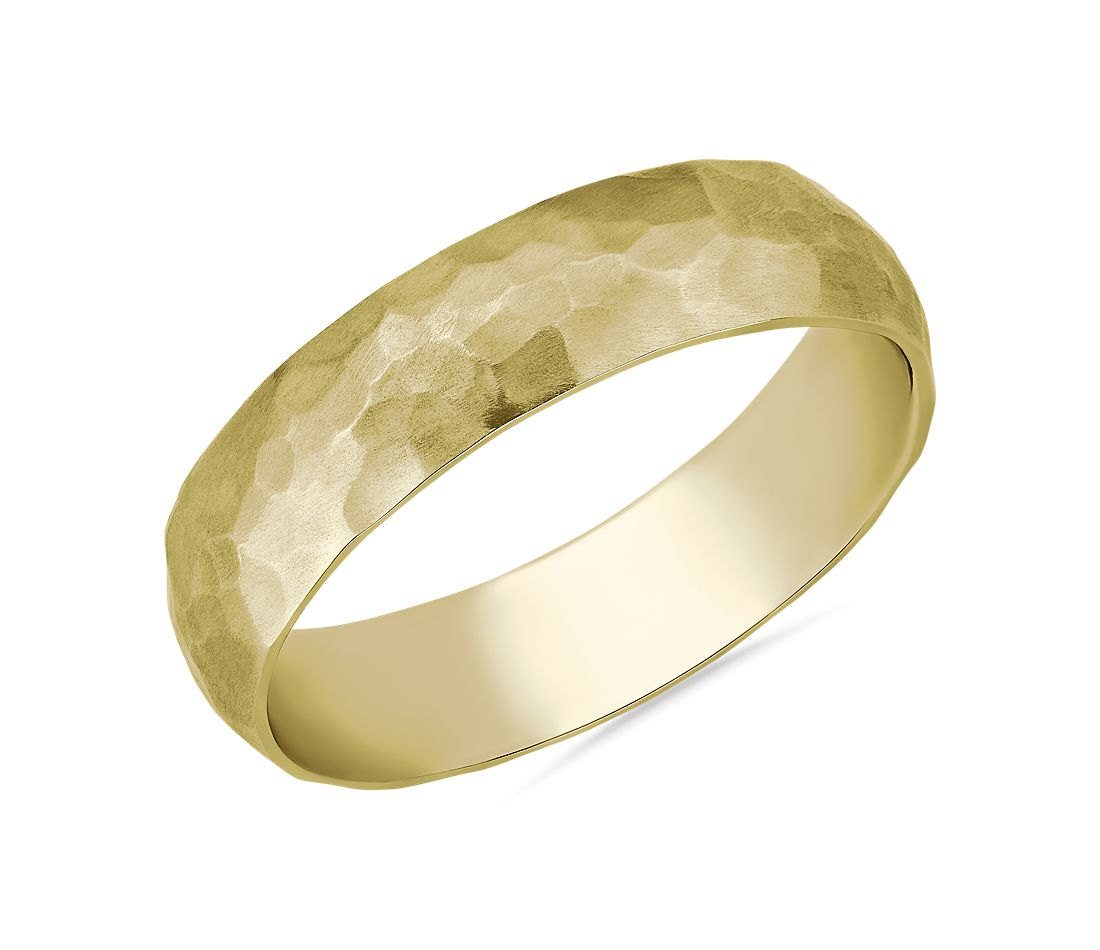 Organic Hammered Wedding Ring in 14k Yellow Gold (5mm)