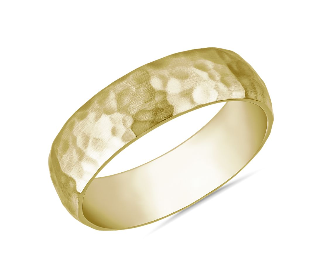 Organic Hammered Wedding Ring in 14k Yellow Gold (6mm)