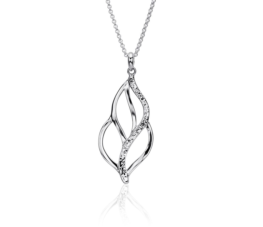 Long Organic Leaf Pendant in Sterling Silver (30 inches)