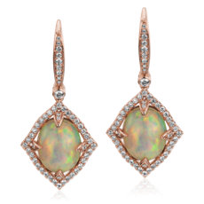 Ornate Oval Cabochon Opal Drop Earrings- 18k Rose Gold