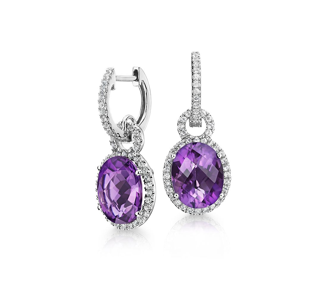 Amethyst And White Shire Halo Oval Drop Earrings In Sterling Silver 10x8mm