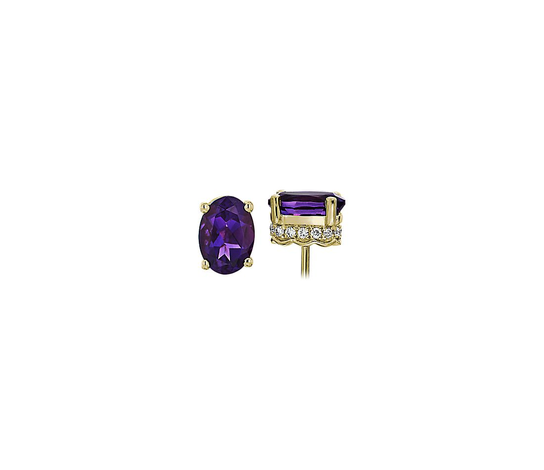 Oval Amethyst and Diamond Earrings in 14k Yellow Gold (7x5mm)