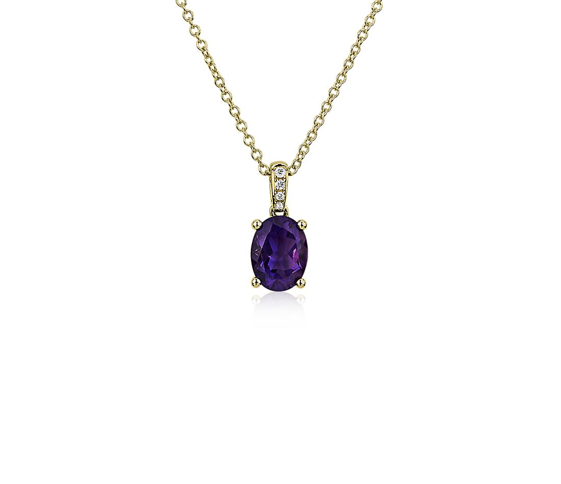Oval Amethyst and Diamond Pendant in 14k Yellow Gold (8x6mm)