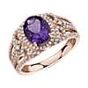 Oval Amethyst and Diamond Ring in 14k Rose Gold
