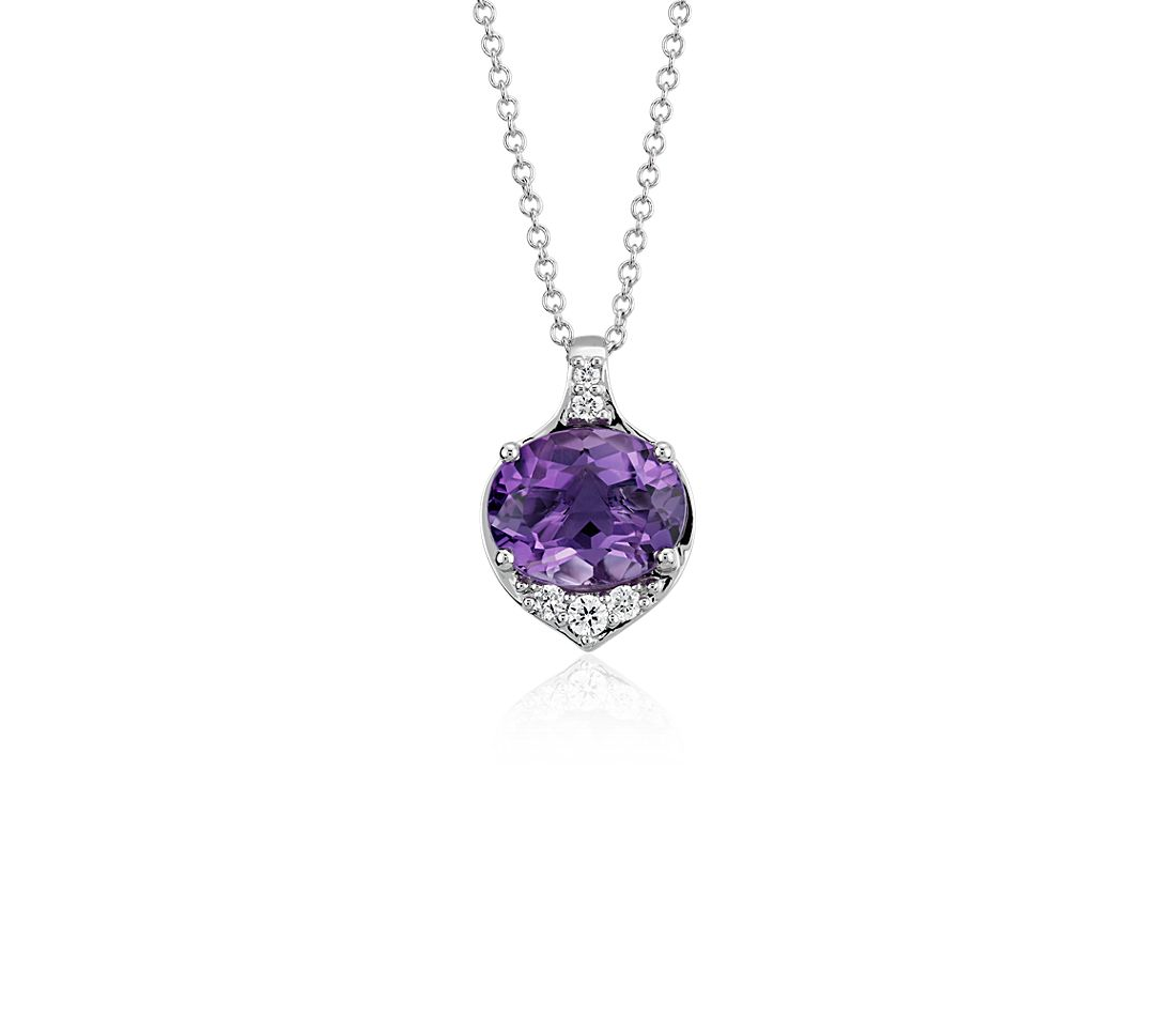Oval Amethyst and Diamond Pendant in 14k White Gold (10x8 mm)